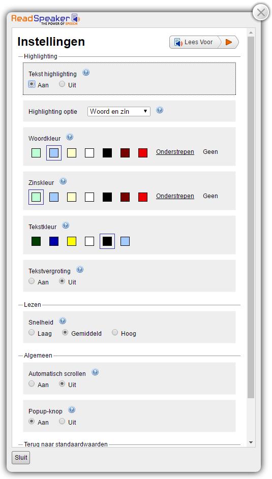 Afbeelding van de uitgeklapte speler met het menu Instellingen