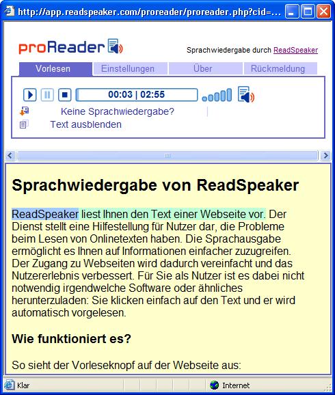 Bildschirmfoto des Proreader Fensters