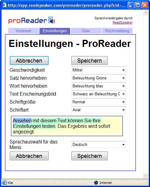 Bildschirmfoto der Registerkarte