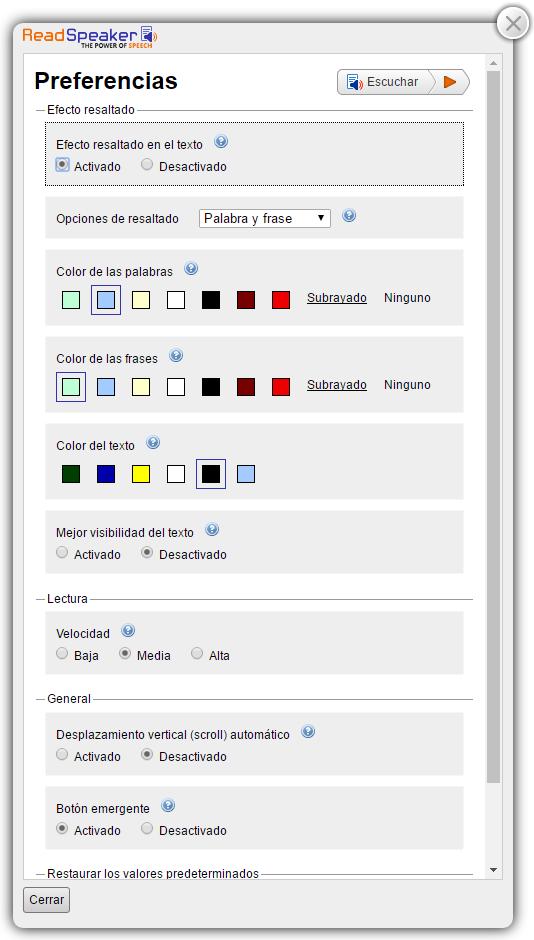 Captura de pantalla de expanded player con el menú de ajustes