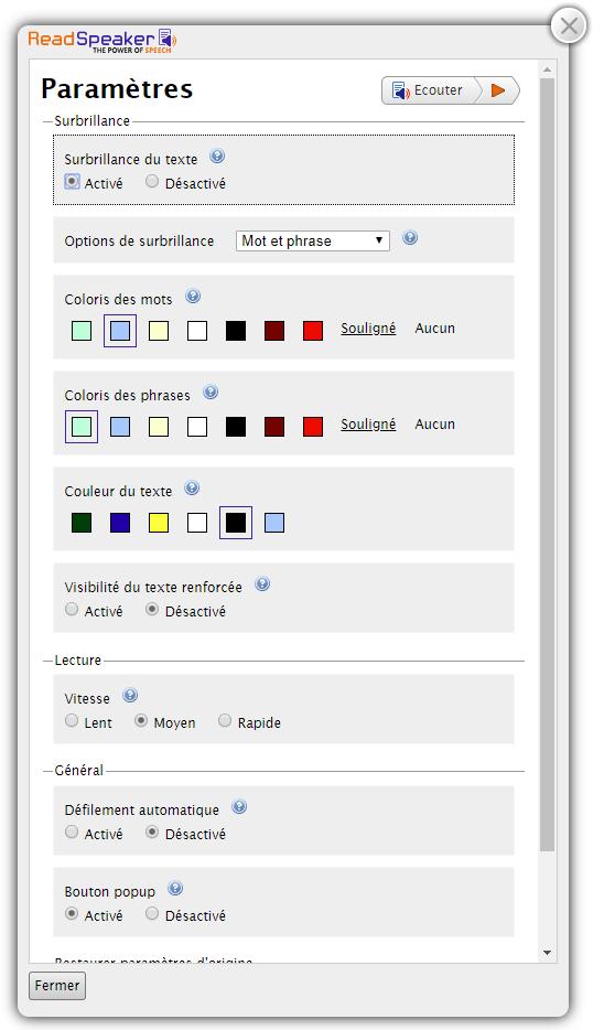 Image du player étendu avec le menu paramêtres