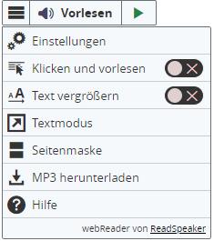 Screenshot von der Werkzeugleiste