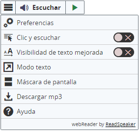 Captura de pantalla de la barra de herramientas